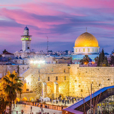 Jerusalem, Israel old city at the Western Wall and the Dome of the Rock..jpg