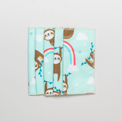 5 x reusable baby wipes- Sloth print