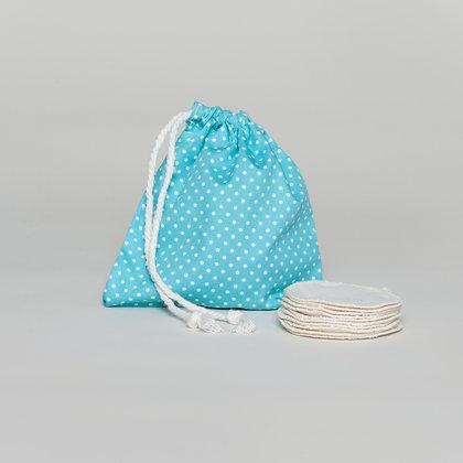 Reusable hemp makeup pads with polka dot wash bag