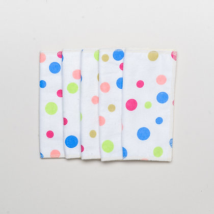 5 x reusable baby wipes- Rainbow spots