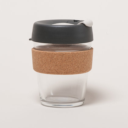 KeepCup Cork Brew Reusable 12oz/340ml Glass Coffee Cup/ Travel Mug- Press/Grey