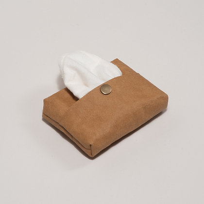 washable paper handkerchief pouch in brown