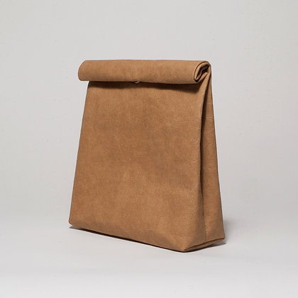 Brown vegan leather lunch bag