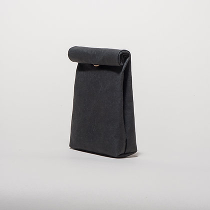 Vegan Leather Snack Pouch - Black