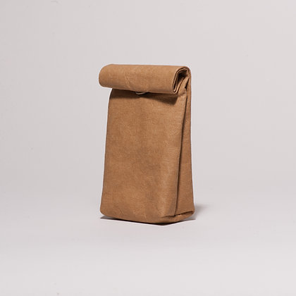 Small brown vegan leather snack bag