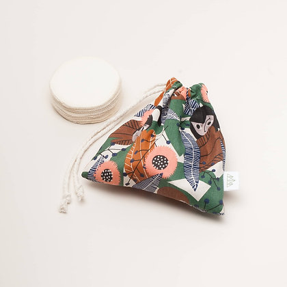 Reusable Hemp & Cotton Pads With Organic Cotton Wash Bag - Wild Things