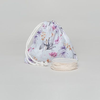 hemp makeup pads with pruple leaf bag