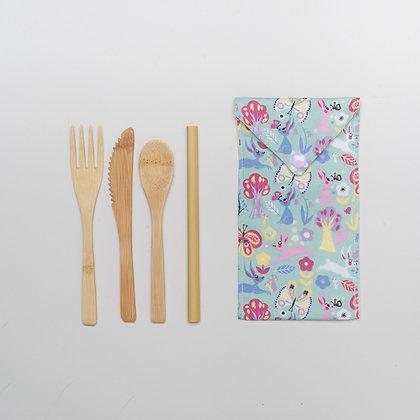 Children's reusable bamboo cutlery set