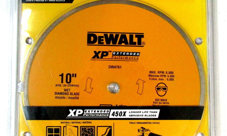 """DeWalt DW4761 10"""" Ceramic, Porcelain, Granite, Slate Tile Blade"""