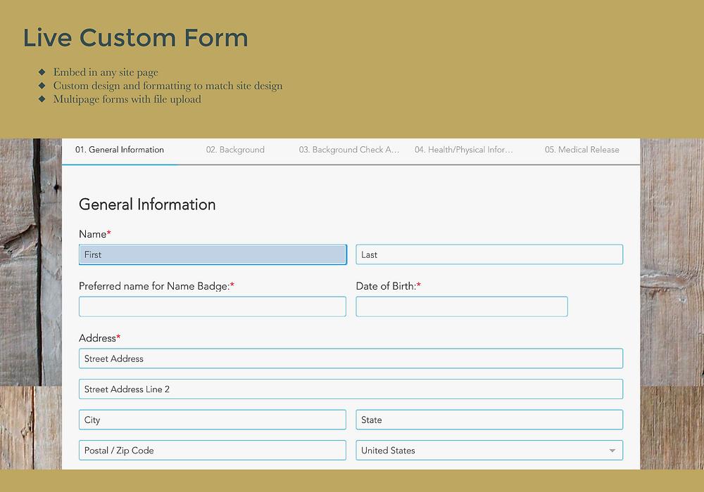 custom website forms