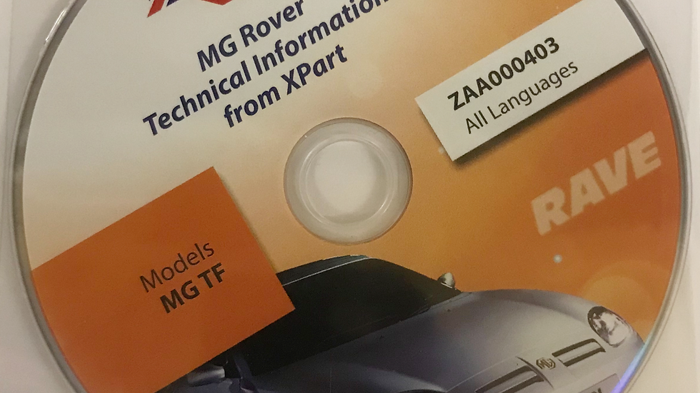 Rave Technical Data Disc For The MGTF