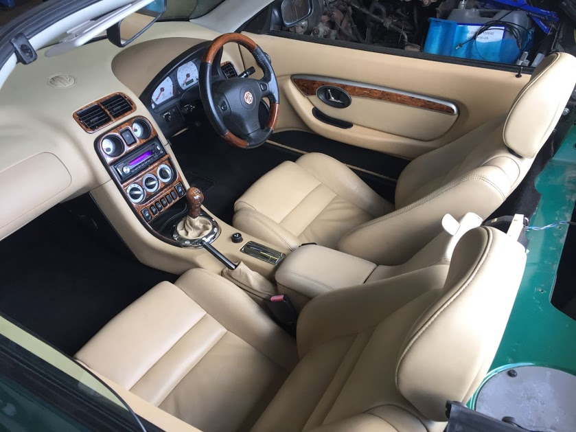 Photograph of upgraded leather interior of MGF