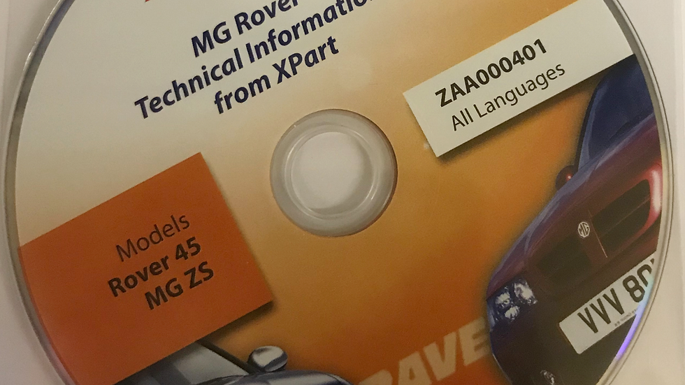 Rave Technical Data Disc for Rover45 and MGZS