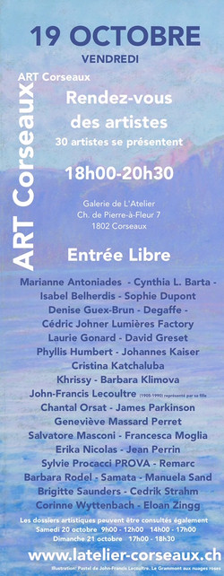 RDV des Artistes 19.10.2018 18h00-20h30.