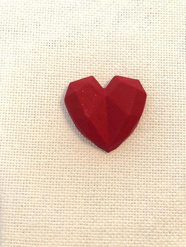 Aimant Cœur Rouge Pailleté - Fait Main