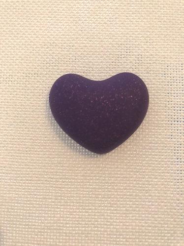 Aimant Cœur Violet Pailleté - Fait Main