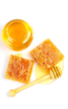 Bee products with honey, sweet honeycomb