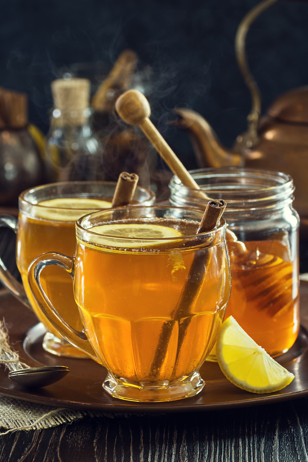 Buckwheat Honey Hot Toddies, with honey and lemon