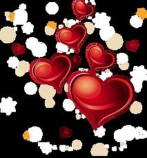 Romantic hearts on a transparent backgro