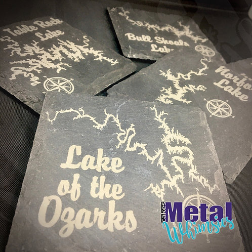 "Missouri Lake Slate Coasters -Laser Engraved, 4"""