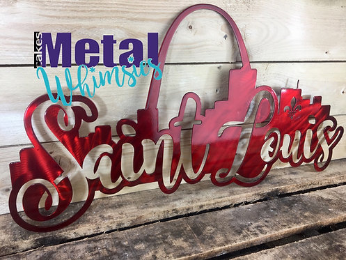 St. Louis Skyline Metal Wall Sign 16 to 48 inch long