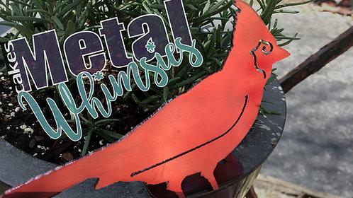 Metal Cardinal Bird Yard Art