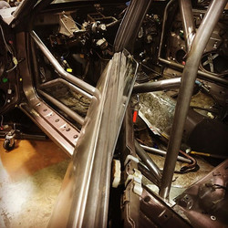 Drivers side door bar test fit on the legacy rally cage