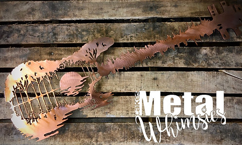 Lake Sunset Electric Bass Guitar - Wall Art