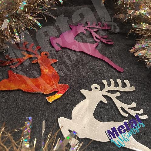 """Reindeer Ornament 4"""" Metal"""