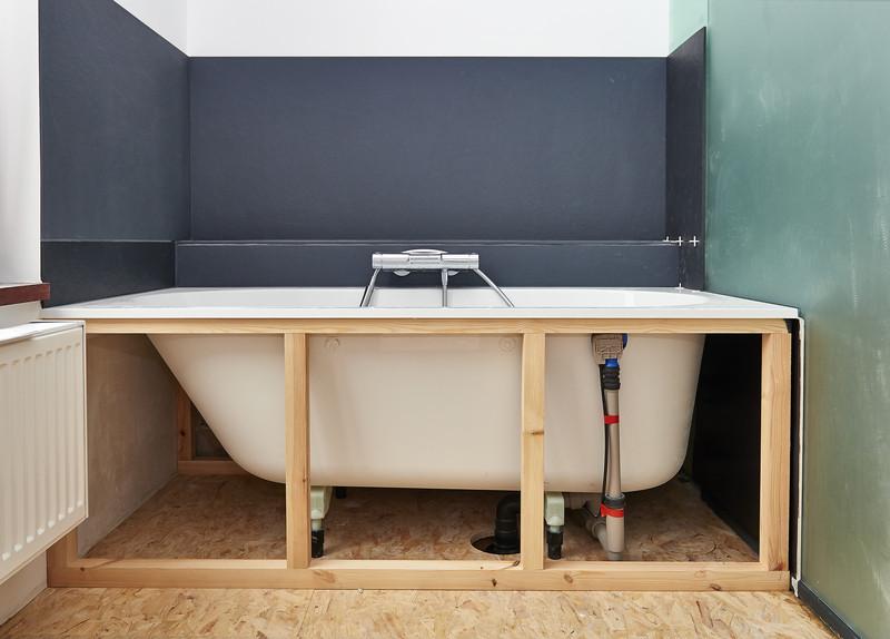 Installing new bath tub to bathroom