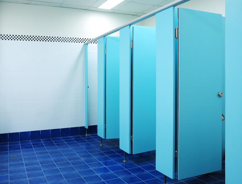 blue commercial toilets