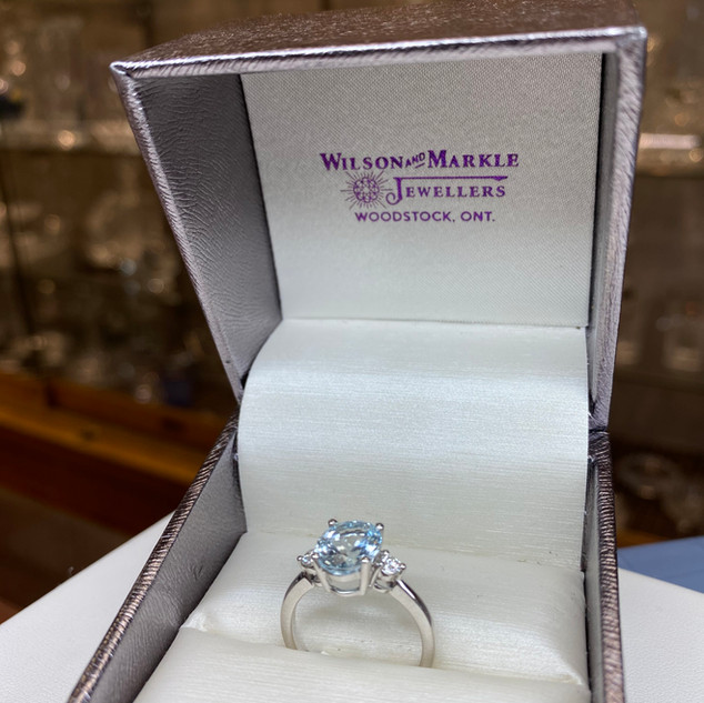 Wilson & Markle Aquamarine Diamond 14K Gold