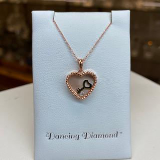 Rose Gold with Floating Diamond & Key
