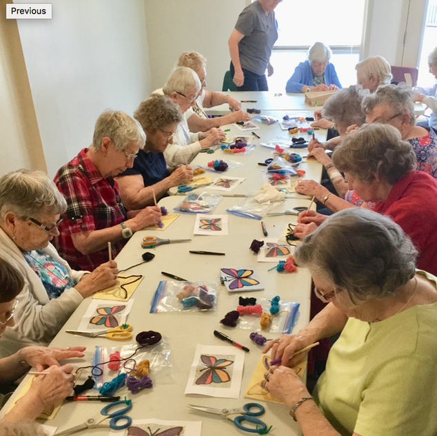 Goderich Place residents doing arts & crafts