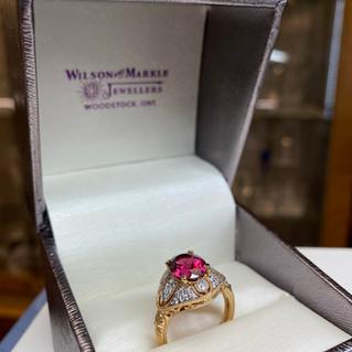 Wilson & Markle Pink Tourmaline Yellow Gold/Diamond