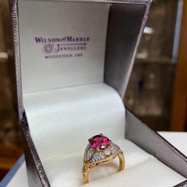 Wilson & Markle Pink Tourmaline Yellow Gold/Diamond