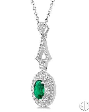 Oval Shape Emerald & Diamond Pendant.jpg