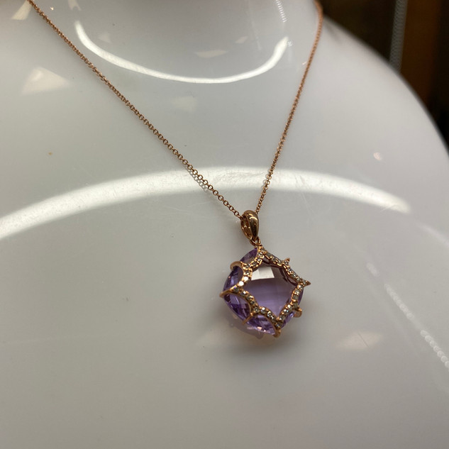 10K Rose Gold Amethyst/Diamond Pendant