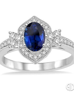 Ladies Oval Shape Sapphire & Diamond Rin