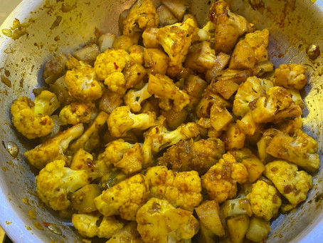 Aloo Gobi (cauliflower and potatoes) Can you tell I love Cauliflower!