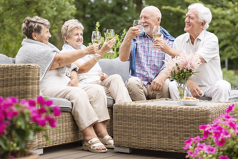 Friends enjoying white wine
