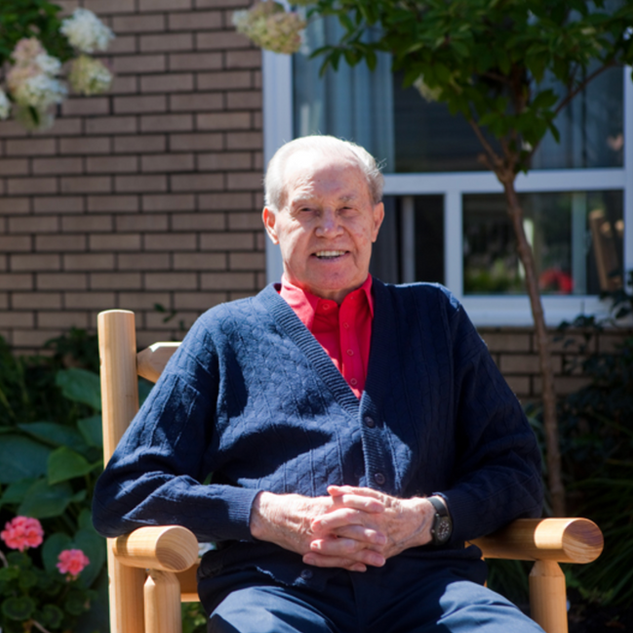 Goderich Place resident sitting