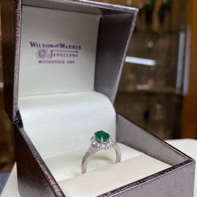 Ashi 14k White Gold Emerald/Diamond