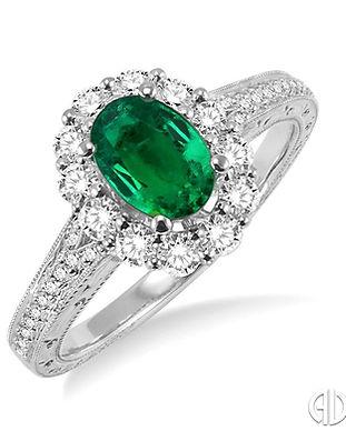 Ladies Oval Shape Emerald & Diamond Ring