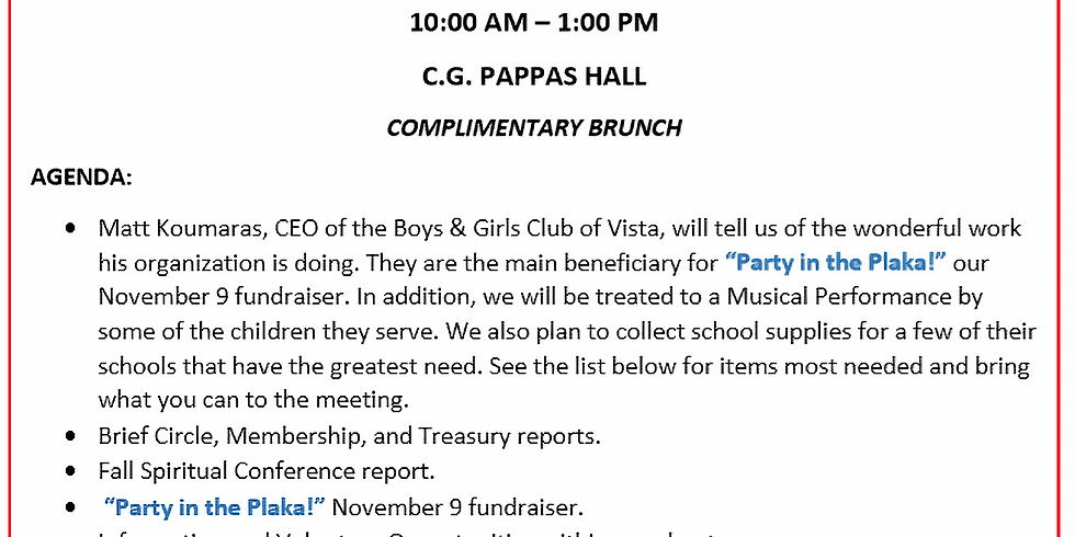 Saint Helen Philoptochos General Assembly Meeting and Brunch