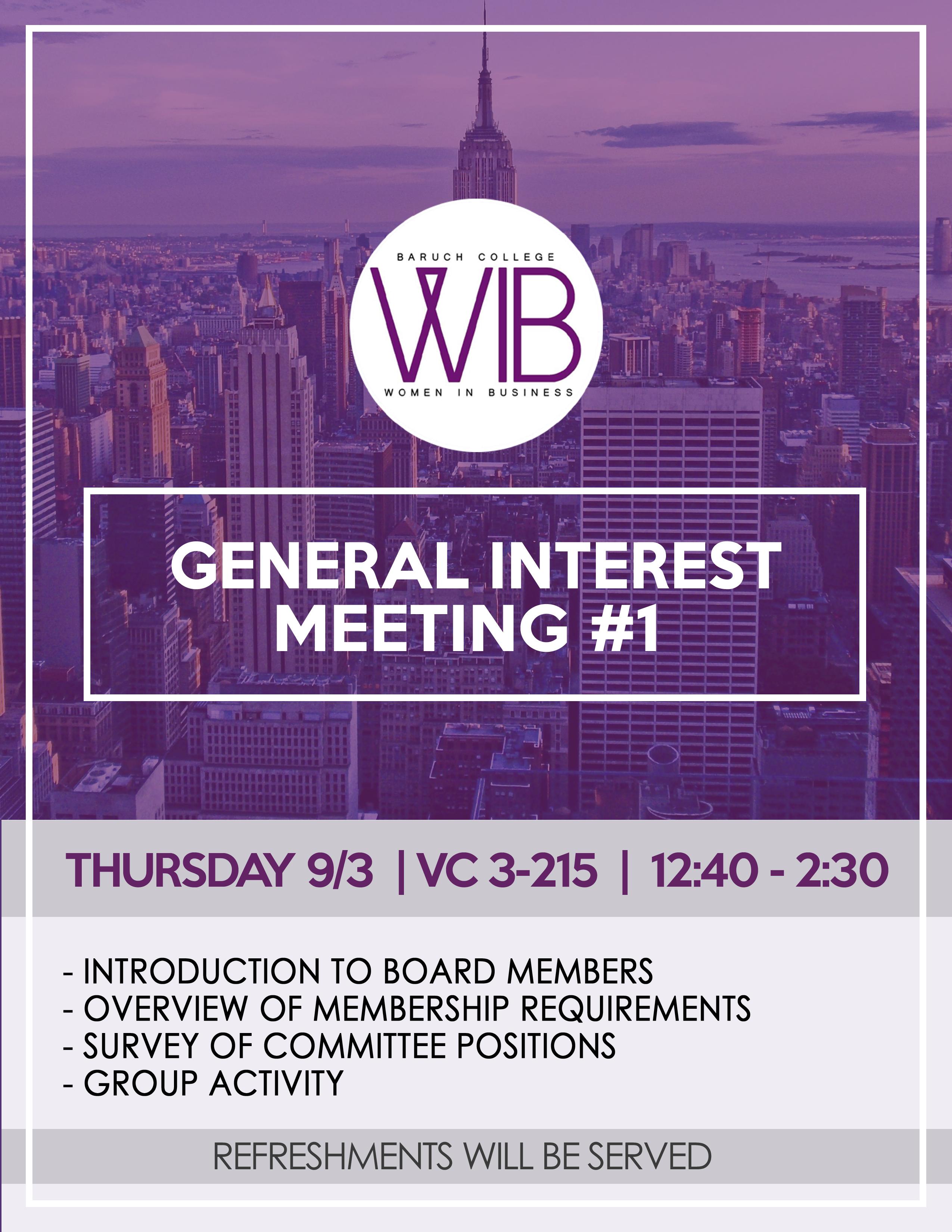 General Interest Meeting #1