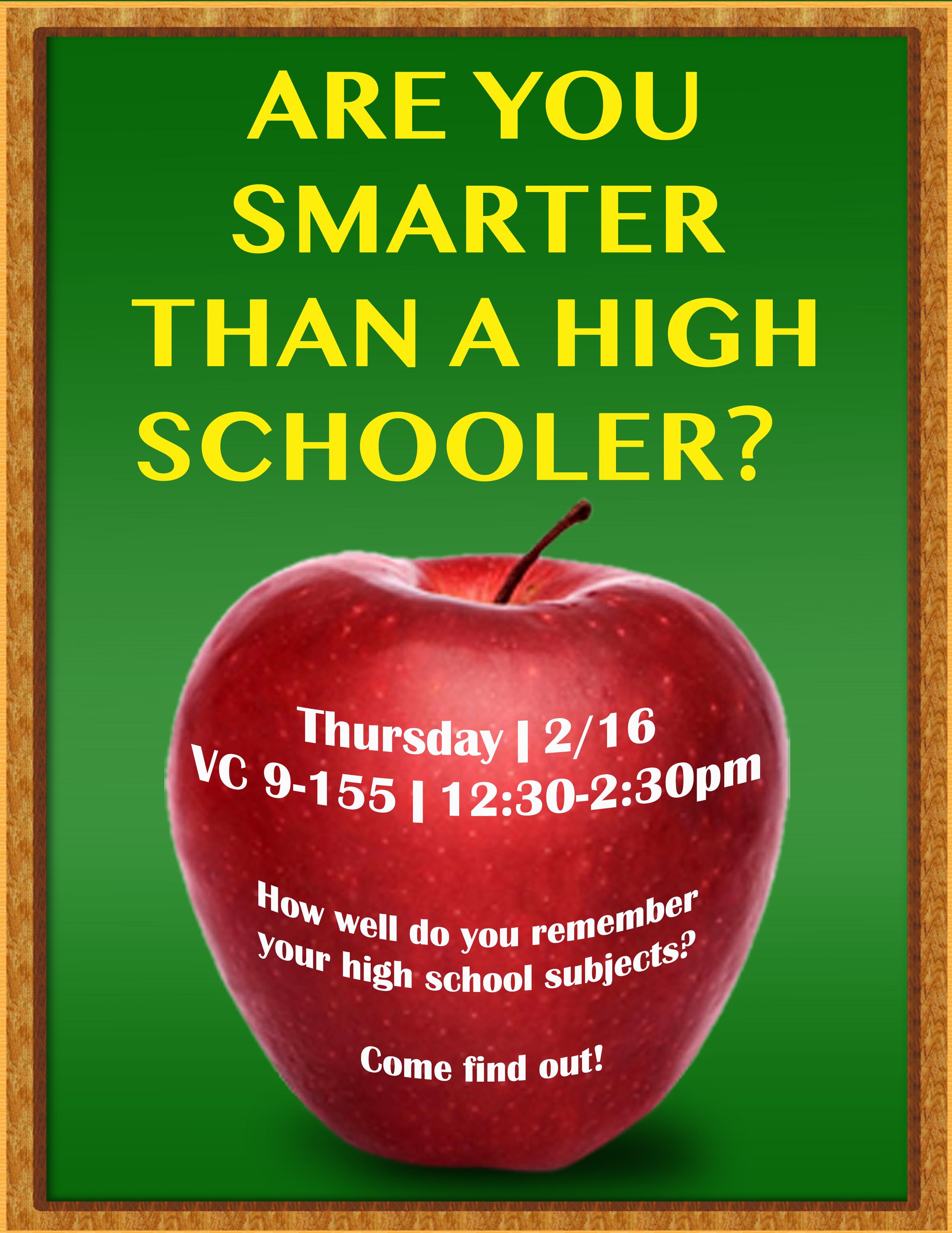 Are you smarter than a high schooler
