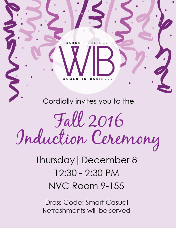 Fall 2016 Induction Ceremony