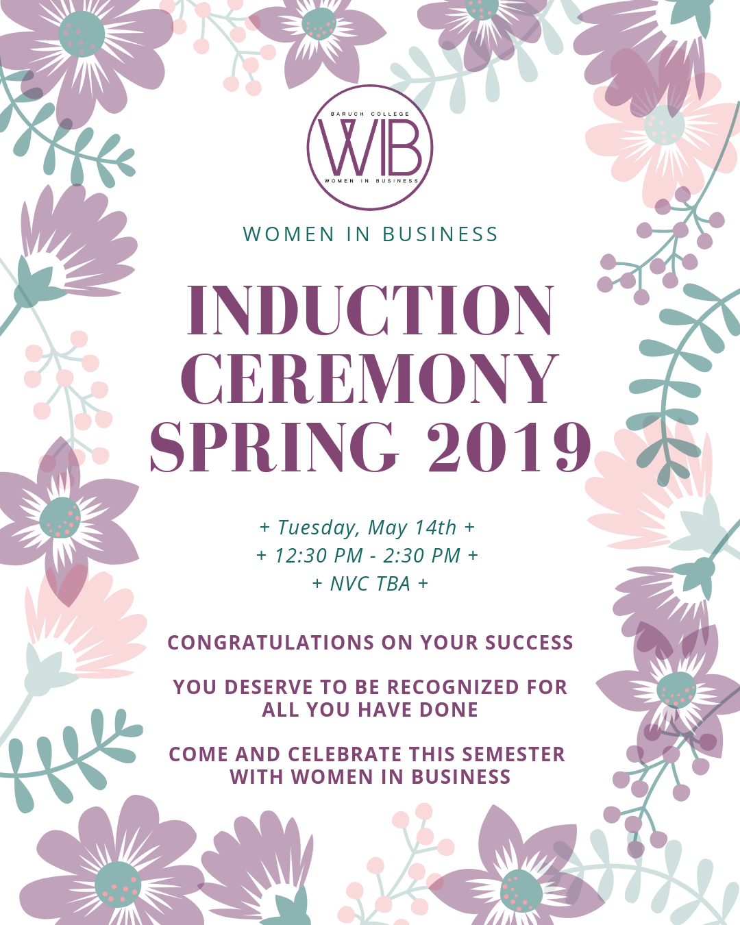 INDUCTION CEREMONY Spring 2019