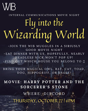 10/22 Internal Communications Movie Night: Fly Into the Wizarding World